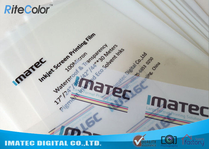 PET Clear Transparency Inkjet Screen Printing Film Waterproof 100 Micron